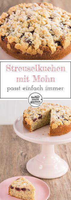 Dieser Streuselkuchen mit Mohn und Kirschen passt immer – für Geburtstage und Kaffeeklatsch, Spieleabende und Buffets. Durch den Joghurt wird der Mohn-Streusel-Kuchen besonders saftig.