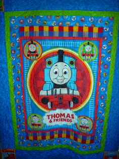 BIG Thomas the TANK Fabric Quilt PANEL Blanket Railroad Train ... : thomas quilt - Adamdwight.com
