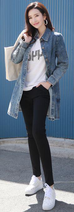 StyleOnme_Slim Waist Band Skinny Pants #black #skinny #pants #dailywear #koreanfashion #kstyle #kfashion #springtrend