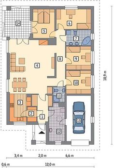 Projekt domu Murator M132 Wariantowy 128,20 m² - koszt budowy - EXTRADOM House Layout Plans, Modern House Plans, House Layouts, Sims House Design, Small House Design, Plans Architecture, House Construction Plan, Home Projects, Planer