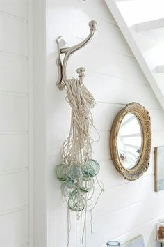 Netting and glass form a great sculptural art piece.