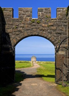 The view looking north from the gate of Downhill House towards Mussenden Temple on the Downhill Demesne, County Londonderry, Northern Ireland - Robert Morris