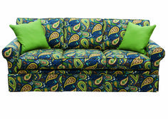 CAPRIS 243 S., floor Capris is introducing a collection of prints by Robert Allen and Crypton. This sofa features saturated color and rich pattern. Sofa, Couch, Furniture Market, Robert Allen, Saturated Color, High Point, Spotlight, Flooring, Prints