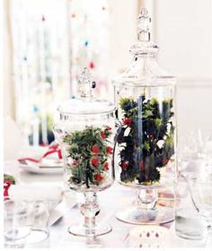 Holly and mistletoe in apothecary jars as a table centerpiece.