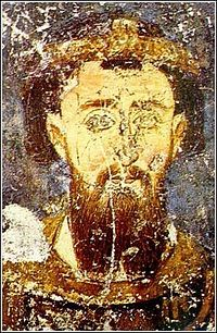 Stefan the First-Crowned, fresco from Mileševa. Fresco, National History, Byzantine Art, Cleric, Orthodox Icons, Medieval Art, Serbian, Illuminated Manuscript, Art And Architecture