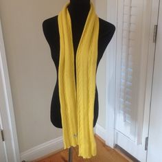 """LISLI YELLOW SCARF CASHMERE WOOL BEND Beautiful Bright Yellow LISLI cashmere wool blend thick  knit scarf measures 68 """" by 4"""" LISLI Accessories Scarves & Wraps"""
