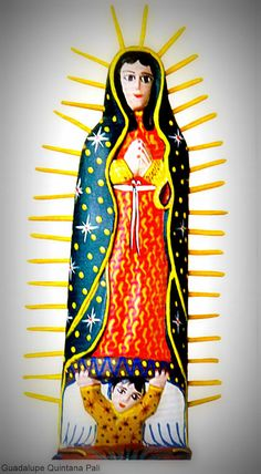 Virgin of Guadalupe carved in wood