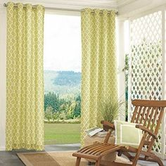 White and green trellis curtains