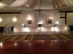 Beautiful white backdrop & head table decor with tiffany blue accents.