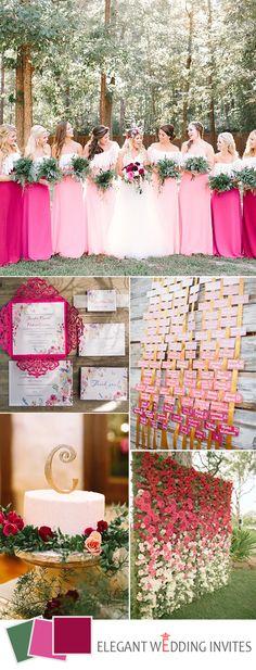 ombre pink boho wedding color ideas for 2017 spring Magenta Wedding, Pink Wedding Colors, Wedding Color Schemes, Elegant Wedding Invitations, Wedding Themes, Wedding Decorations, Wedding Ideas, Our Wedding Day, Boho Wedding