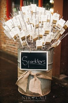 Sparklers for a #wedding send off - loving this display! Photo: Locklane…