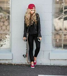 Black jeans - black leather jacket - black all! - red tennis shoes - red ball cap