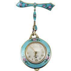 Vintage Sterling Silver Guilloche Enamel Watch Pin Brooch Bucherer 17 Jewels Swiss Made