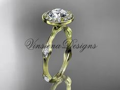 14k yellow gold leaf and vine engagement ring by VinsienaDesigns