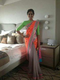 Neon Sari. Saree. Indian Fashion. Bollywood Actress. Sonam Kapoor