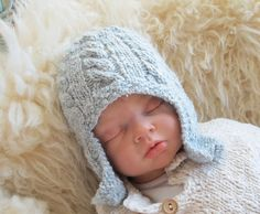 Cabled Earflap Knit Cap for Newborn Baby by broodbaby on Etsy, $36.00