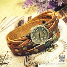 Wrist Watch Handmade Wristwatches Vintage Ladies Girls Womens Mens Leather Bangle Studded Bracelet Quartz Cute Cat Pendant (WAT0012) on Etsy, $16.99