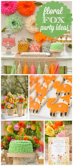 A floral fox girl birthday party in a coral, pink, orange, mint & gold sparkle color palette! See more party planning ideas at CatchMyParty.com!