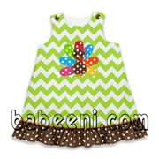 Girls appliqued A-line dress, owning best  applique dress on Thanksgiving day