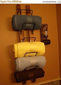 Same style as my 6 - bottle #wine rack, I've had many customers convert this into a #towel rack. Beautiful wood staves, stained a nice English Chestnut, but could...