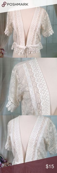 Forever 21 Off White Lace Shrug Today, featuring in Kaki Jo's closet is this very beautiful off white lacy shrug.  New condition.  Size M. Forever 21 Tops