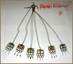 Sautoirs Hibou - sautoir et collier matinée - Django Renn'Art - Fait Maison
