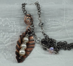 Pea Pod Fold Form Pendant with gun metal chain and crystals.  DebVdesigns.blogspot.ca