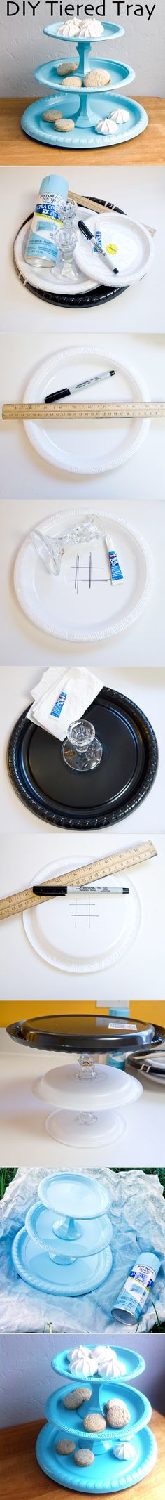 This chic tray comes together with just a few plastic plates, a bit of glue, and a few dollar-store finds.