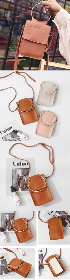 [$ 11.95]  Cute PU Leather Phone Bag Square Mini Crossbody Bag Women Dual-use Handbag