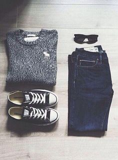 Abercrombie & Fitch knit sweater, denim skinny jeans, & low top Converse