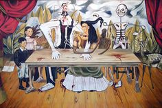 """1940 - """"La Mesa Herida (The Wounded Table) by Frida Kahlo Calderon de Rivera, oil on canvas. The Wounded Table is an oil painting by Mexican artist Frida Kahlo (Coyoacan, Although lost in three photos of this painting were taken between 1940 and Frida Kahlo Work, Frida Kahlo Exhibit, Frida And Diego, Frida Art, Diego Rivera, Lost Art, Kahlo Paintings, Vanitas Paintings, Spanish Art"""