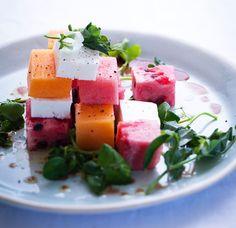 Melon, feta and watercress salad