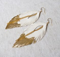 Leather Feather Earrings. White Gold Leafed Feather Earrings. Long White Earrings. Bohemian Earrings