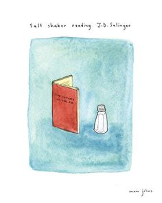 salt shaker reading J.D. Salinger - Signed Print