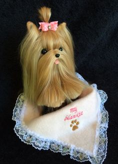 Needle felted Yorkie made with Real Yorkie hair