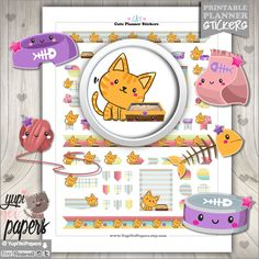 Cat Stickers, Planner Stickers, Printable Planner Stickers, Kawaii Stickers, Planner Accessories, Pet Stickers, Kitten Stickers