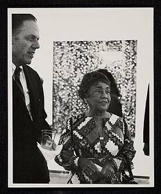 Alma Thomas at the opening of her exhibit at the Whitney, 1972.