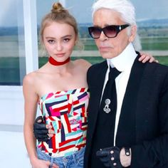 - Lily-Rose, the brand's eyewear muse, and Karl.