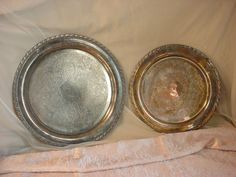 Vtg Antique Silverplate Platter Plate or Chargers LOT of 2 Tarnished Feast Gear #Oneida