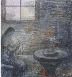 Woman Knitting, Henry Moore. (1898 - 1986) - Pastel, Ballpoint pen, Pencil and Chalk over Wash on Blotting paper -