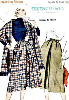 40% OFF 1950s Skirt and Stole Pattern SIMPLICITY 3769 UNCUT, Factory-Folded Waist 24