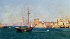 """""""Brick-Goélette au Mouillage Dans Le Port  de Marseille"""", par  Joseph Garibaldi"""