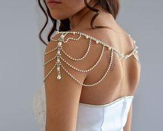 Wedding Rhinestone Jewelry Wedding Dress Shoulder by ADbrdal, $120.00