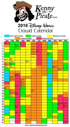 2016 Disney World Crowd Calendar  #disneyworld #disneyworldplanning #disneyworldcrowds #disneyworldcrowdcalendar
