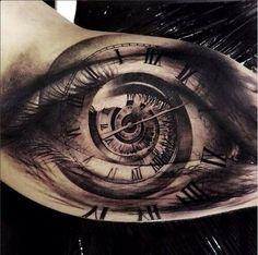 Tattoo eye clock spiral photo realistic forearm grey black