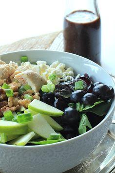 Chicken Feta Walnut Grape Salad with Honey Balsamic Vinaigrette   www.joyfulhealthyeats.com #glutenfree #paleofriendly