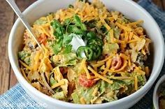 Creamy Taco Pasta Salad has all your favorite Mexican food flavors in an easy to serve pasta salad!