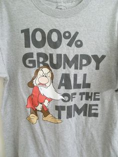 Disney's 100% Grumpy All The Time T-Shirt Adult L Large Size #Disney