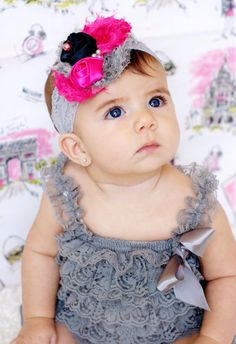 silver/Grey petti lace romper and headband SET, petti romper,baby head band, girls first birthday outfit, headband and lace petti romper on Etsy, $29.99