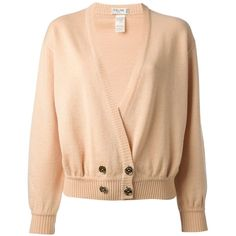 Céline Vintage double breasted cardigan ($360) ❤ liked on Polyvore featuring tops, cardigans, sweaters, jackets, outerwear, long sleeve cropped cardigan, crop top, wool cardigan, long sleeve crop top and vintage crop top